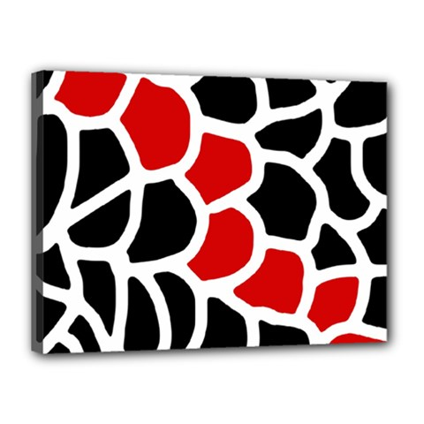 Red, Black And White Abstraction Canvas 16  X 12  by Valentinaart