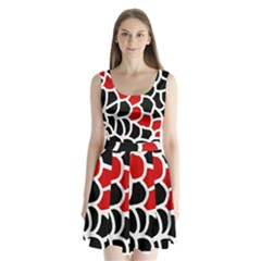 Red, Black And White Abstraction Split Back Mini Dress  by Valentinaart