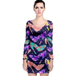 Colorful High Heels Pattern Long Sleeve Bodycon Dress