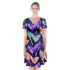 Colorful High Heels Pattern Short Sleeve V Neck Flare Dress by DanaeStudio