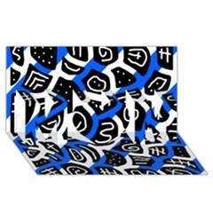 Blue Playful Design Mom 3d Greeting Card (8x4) by Valentinaart