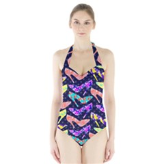 Colorful High Heels Pattern Halter Swimsuit
