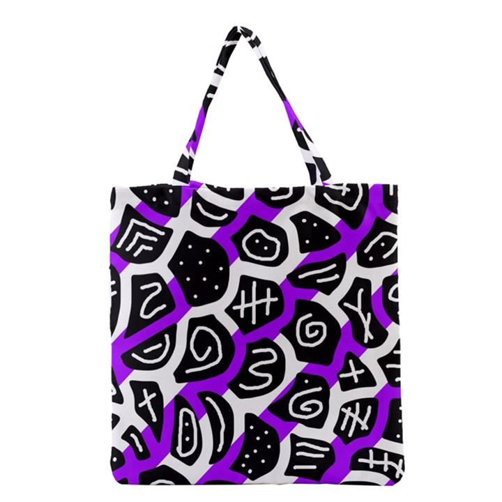 Purple playful design Grocery Tote Bag