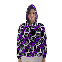Purple Playful Design Hooded Wind Breaker (women) by Valentinaart