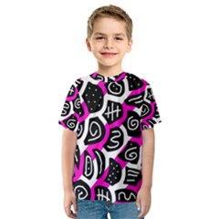 Magenta Playful Design Kid s Sport Mesh Tee by Valentinaart
