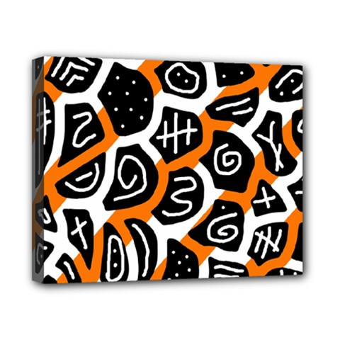 Orange Playful Design Canvas 10  X 8  by Valentinaart
