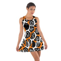 Orange Playful Design Cotton Racerback Dress by Valentinaart