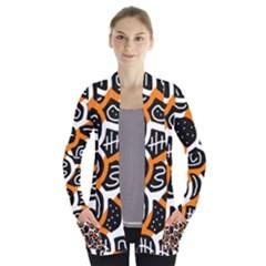 Orange Playful Design Women s Open Front Pockets Cardigan(p194) by Valentinaart