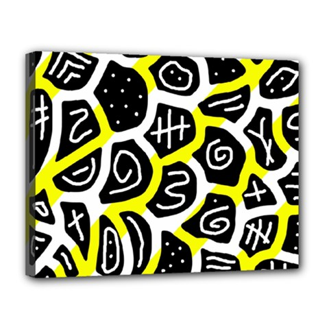 Yellow Playful Design Canvas 14  X 11  by Valentinaart