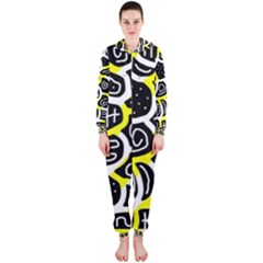 Yellow Playful Design Hooded Jumpsuit (ladies)  by Valentinaart