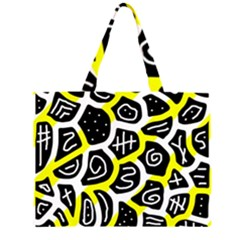 Yellow Playful Design Zipper Large Tote Bag by Valentinaart