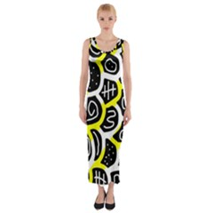 Yellow Playful Design Fitted Maxi Dress by Valentinaart