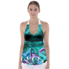 Horses Under A Galaxy Babydoll Tankini Top