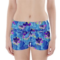 Purple Flowers Boyleg Bikini Wrap Bottoms