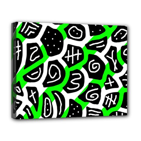 Green Playful Design Deluxe Canvas 20  X 16   by Valentinaart