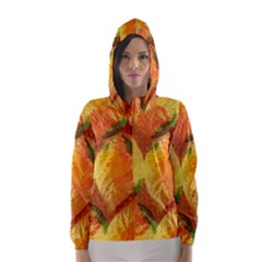 Fall Colors Leaves Pattern Hooded Wind Breaker (women)