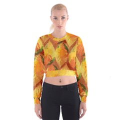 Fall Colors Leaves Pattern Women s Cropped Sweatshirt