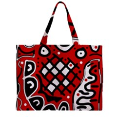 Red High Art Abstraction Zipper Mini Tote Bag by Valentinaart