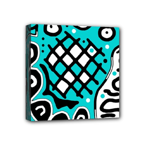 Cyan High Art Abstraction Mini Canvas 4  X 4  by Valentinaart