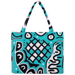 Cyan High Art Abstraction Mini Tote Bag by Valentinaart