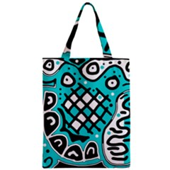 Cyan High Art Abstraction Zipper Classic Tote Bag by Valentinaart