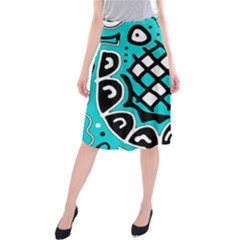 Cyan High Art Abstraction Midi Beach Skirt