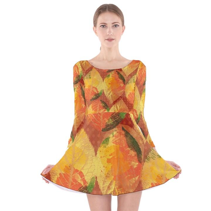 Fall Colors Leaves Pattern Long Sleeve Velvet Skater Dress