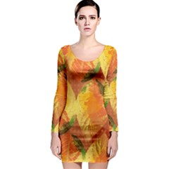 Fall Colors Leaves Pattern Long Sleeve Bodycon Dress