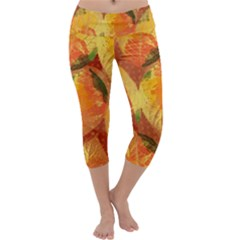 Fall Colors Leaves Pattern Capri Yoga Leggings