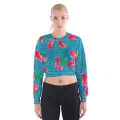 Carnations Women s Cropped Sweatshirt by DanaeStudio