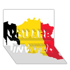 Belgium Flag Map You Are Invited 3d Greeting Card (7x5)
