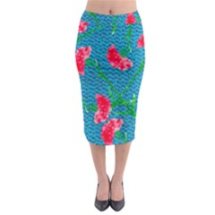 Carnations Midi Pencil Skirt