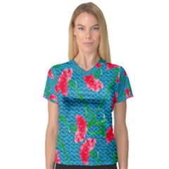 Carnations Women s V Neck Sport Mesh Tee