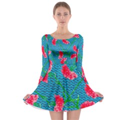 Carnations Long Sleeve Skater Dress by DanaeStudio