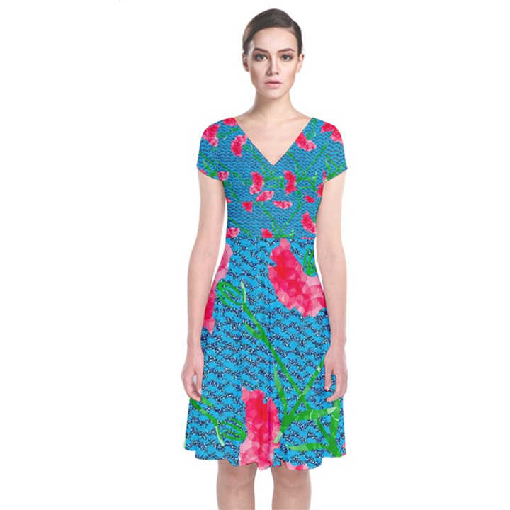 Carnations Short Sleeve Front Wrap Dress