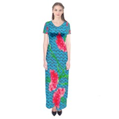 Carnations Short Sleeve Maxi Dress