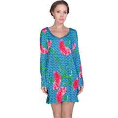 Carnations Long Sleeve Nightdress by DanaeStudio