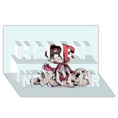 Bad Bitch Red Happy New Year 3d Greeting Card (8x4) by lvbart