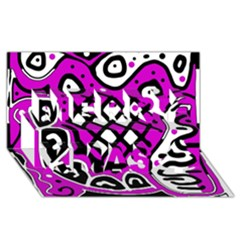 Magenta High Art Abstraction Merry Xmas 3d Greeting Card (8x4) by Valentinaart