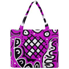 Magenta High Art Abstraction Mini Tote Bag by Valentinaart