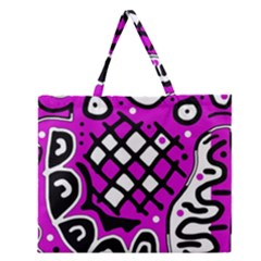 Magenta High Art Abstraction Zipper Large Tote Bag