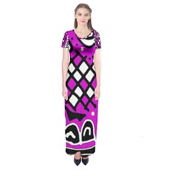 Magenta High Art Abstraction Short Sleeve Maxi Dress by Valentinaart