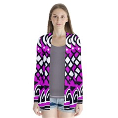 Magenta high art abstraction Drape Collar Cardigan by Valentinaart
