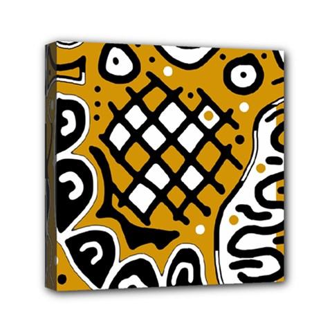 Yellow High Art Abstraction Mini Canvas 6  X 6  by Valentinaart