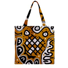 Yellow High Art Abstraction Zipper Grocery Tote Bag by Valentinaart