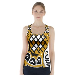 Yellow high art abstraction Racer Back Sports Top by Valentinaart