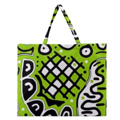 Green High Art Abstraction Zipper Large Tote Bag by Valentinaart