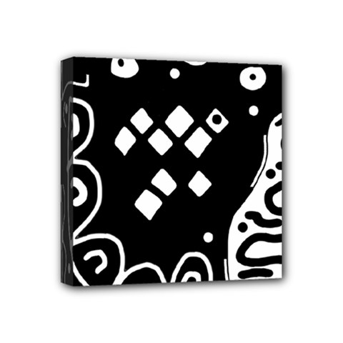 Black And White High Art Abstraction Mini Canvas 4  X 4  by Valentinaart