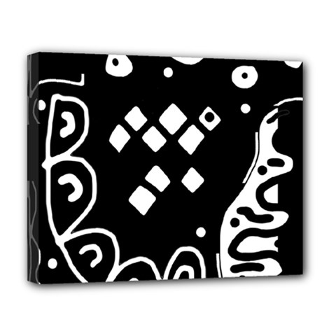 Black And White High Art Abstraction Deluxe Canvas 20  X 16   by Valentinaart