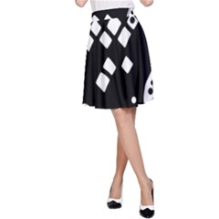 Black And White High Art Abstraction A Line Skirt by Valentinaart